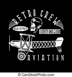 retro aviation vector design with skull,airplane and wings