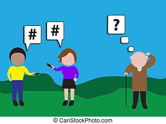 Digital Kids - Illustration of an older man appearing...