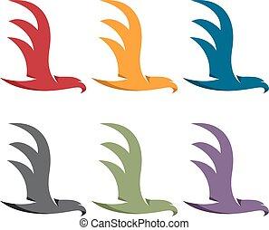 plano,  simple, Ilustración,  vector, diseño, águilas