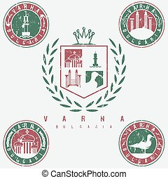 grunge coat of arms and emblems with landmarks of the city Varna Bulgaria