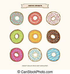 donuts - set of colorful donuts isolated on white paper...