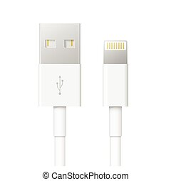 usb c - set of usb interface cables isolated on white...