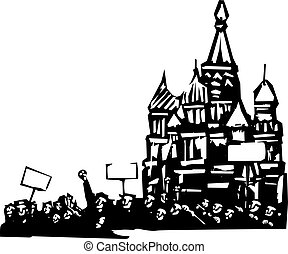 Protest in Moscow - Woodcut style image of a riot or protest...