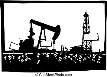 Protesting Fracking Drilling - Woodcut style image of a riot...