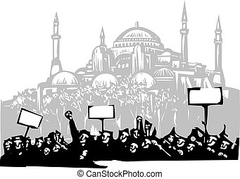 Protest in Istanbul - Woodcut style image of a riot or...