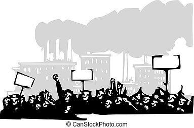 Protest at a Factory - Woodcut style image of a riot or...