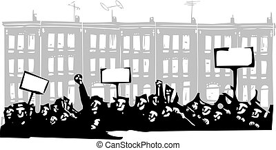 Protest Baltimore - Woodcut style image of a riot or protest...
