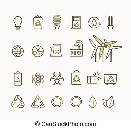 Thin line vector ecological icons set Icons for...