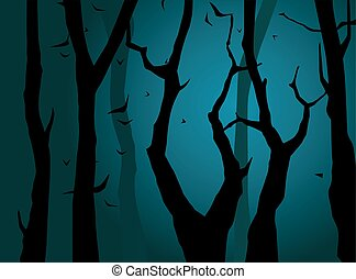 Night forest. Vector
