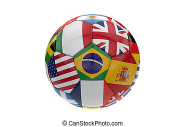 Soccer ball with many flags; 3d rendering - Soccer ball with...