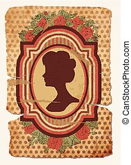 Vintage postcard female silhouette - Vintage card with...