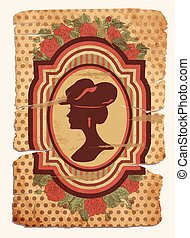 Vintage card with female silhouette, vector