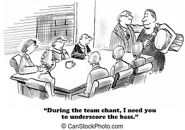 Team chant - Business cartoon about team spirit