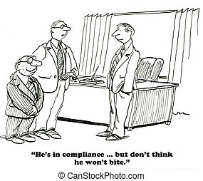 Regulatory compliance - Business cartoon about regulatory...
