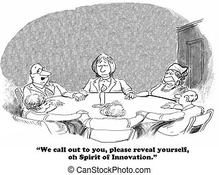 Innovation - Business cartoon about the spirit of...