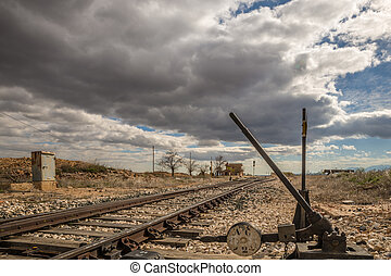 Railroad track - Abandoned and empty railroad track in the...