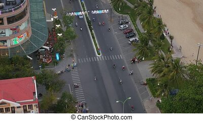 Aerial view of a city street near the sandy beach. Nha Trang, Vietnam
