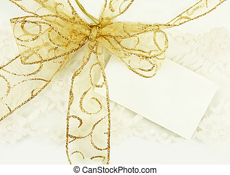 Gold Bow with Gift Tag