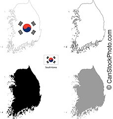 South Korea country black silhouette and with flag on background