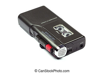 Dictaphone tape recorder isolated on a white background