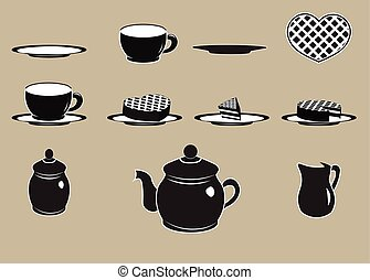 tea set - black icon tea set and sweet dessert