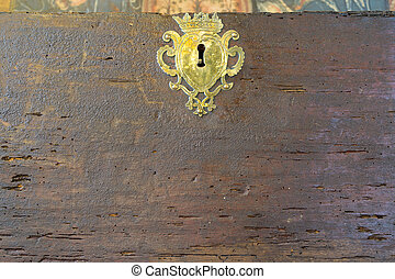 Old vintage lock on woodworm wooden - Front view of old...