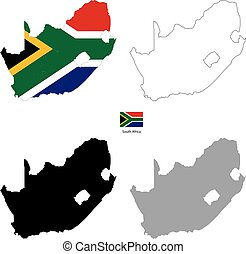 South Africa country black silhouette and with flag on background