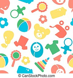 Seamless pattern with cute baby accessories on white background.