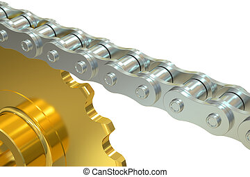Bicycle Chain with gear, 3D rendering isolated on white...