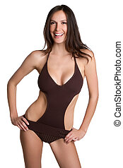 Bathing Suit Woman - Beautiful isolation bathing suit woman