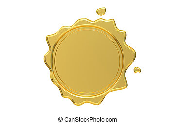 Golden Wax Seal, 3D rendering isolated on white background