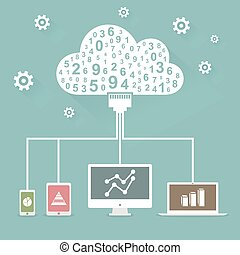 Cloud technology - Abstraction of cloud technology. Vector...