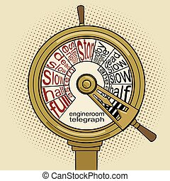 Engine order telegraph pop art vector - Engine order...