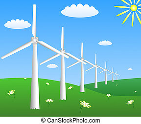 Wind turbines on a field with camomiles
