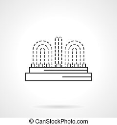 Illuminated fountain flat line vector icon - City...