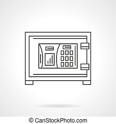 Combination lock safe flat line vector icon - A front view...