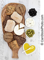 Bread Cheese and Olives - Bread rolls with camembert and...