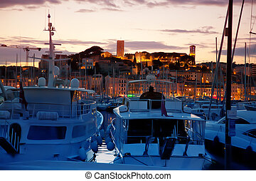 Cannes by evening - sunset in Cannes by evening water