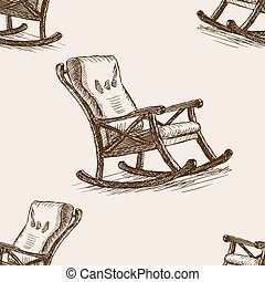 Rocking chair sketch seamless pattern vector - Rocking chair...