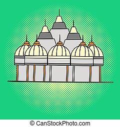 Shri Swaminarayan Mandir pop art vector. Beautiful adult...
