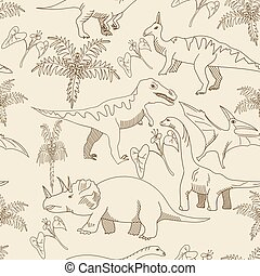 Dinosaur seamless vector for adults - Dinosaur seamless...