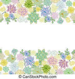 Succulent garden border card design. Horizontal center space...
