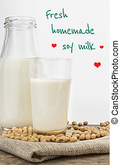 Bottle and glass of soy milk with text
