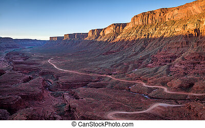 canyon road aerial view - aerial view of a windy road...