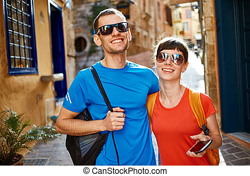 tourists in the old town