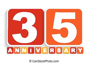 Thirty Five 35 Years Anniversary Label Sign for your Date...