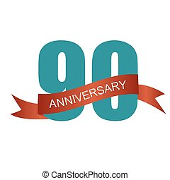 Ninety 90 Years Anniversary Label Sign for your Date Vector...