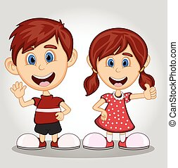 Children waving hand cartoon