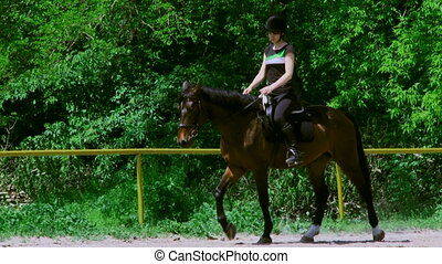 Female jockey riding - Beautiful girl jockey rides in a...
