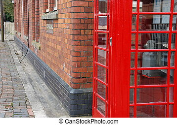 British telephone booth - typical red telephone booth and...